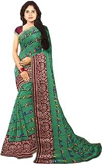 KLM Fashion Mall Women's Fancy Cotton Silk Saree (Green & Pink)