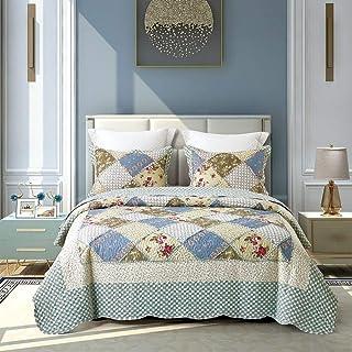 VIVILINEN Couvre Lit 220x240cm avec 2 Taies d'oreillers 50 * 70cm Couverture de Lit 3 Pièces Floral Patchwork Dessus de Li...