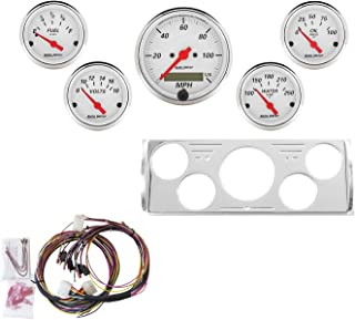 Auto Meter 7057-AW Artic White 5 Gauge Set MPH/OilP/Water/Volt/Fuel