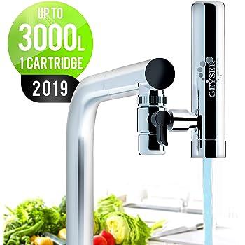 GEYSER EURO - Filtre à eau pour robinet de cuisine, purificateur d'eau avec matériau ultra-absorbant, filtre de robinet à montage longue durée avec commutateur, système de purification de l'eau