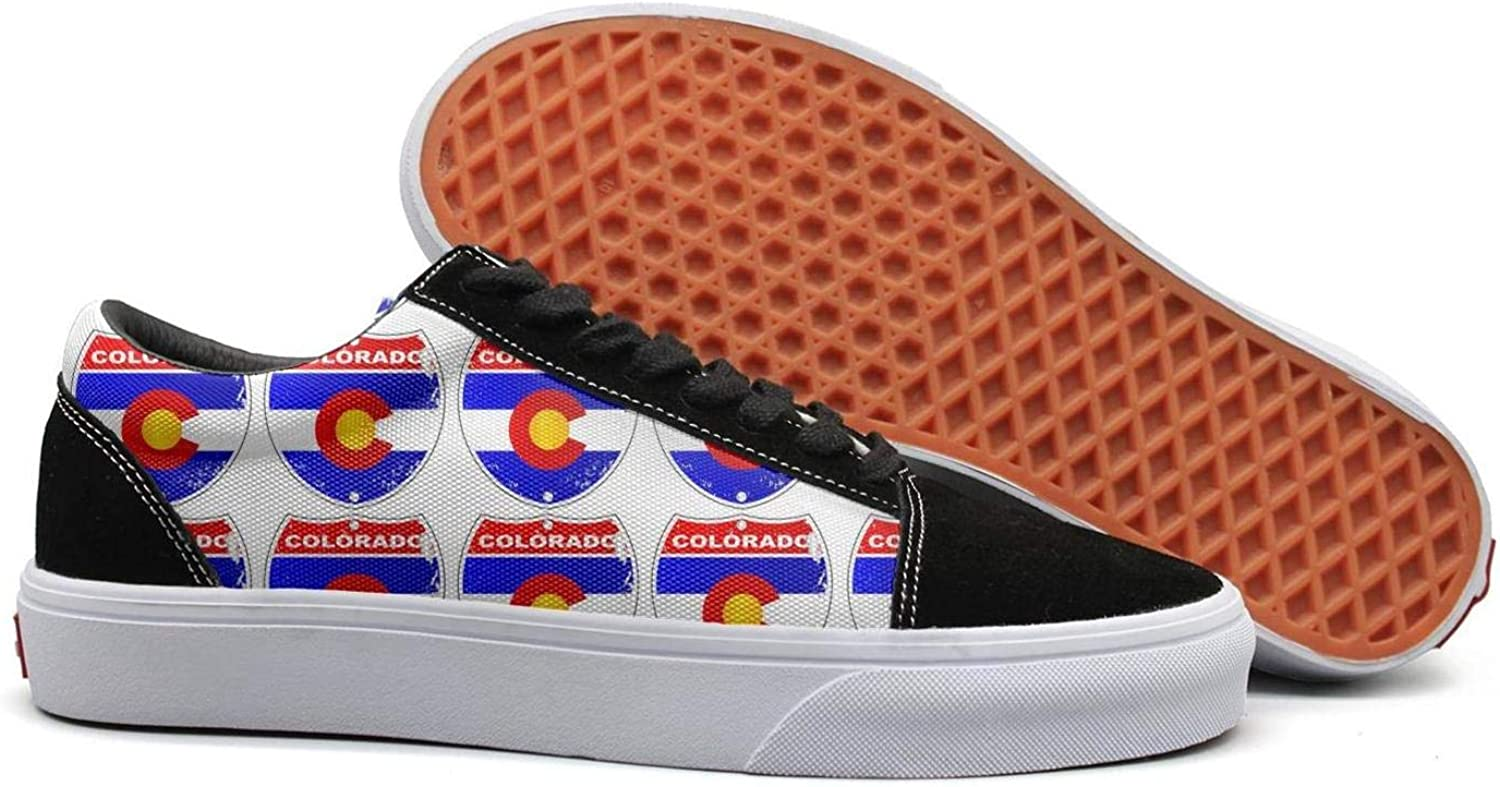 PDAQS colorado Flag Women Canvas shoes oldskoo Athletic shoes Low top