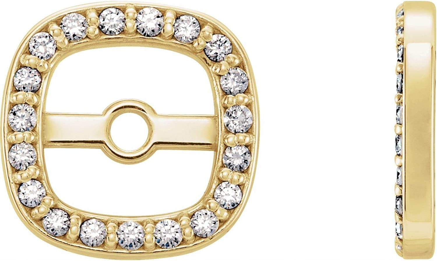 14k Gold Round cut Natural Diamond Halo-Style Earring Jackets for Women