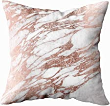 EMMTEEY Home Decor Throw Pillowcase for Sofa Cushion Cover,Chic Elegant White and Rose Gold Marble Pattern Decorative Square Accent Zippered and Double Sided Printing Pillow Case Covers 20X20Inch