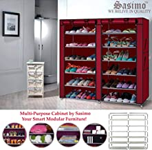 Sasimo Iron and Fabric Multi-Purpose Foldable Shoe Rack, 12 Layer, Organiser - Maroon (Make in India)(Shoes Racks for Home)(Shoes Stand for Home)