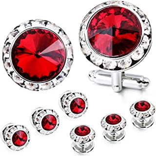 AMITER Mulit-Colors Crystal Cuff Links and Studs Set for Mens Tuxedo Shrit Wedding Accessories