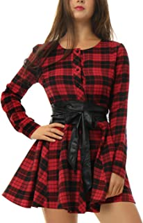Allegra K Women's Plaids Long Sleeves Button Down Belted Party Mini A-Line Shirt Dress