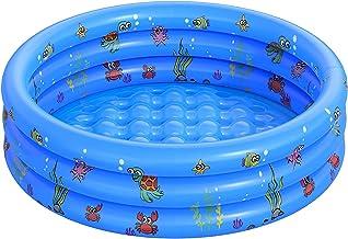QASIMO Planschbecken, rund, für Kinder, aufblasbar, für Kinder, aus PVC, Pool im Ozean-Stil, für den Garten, für Kinder, Erwachsene und Familien 130