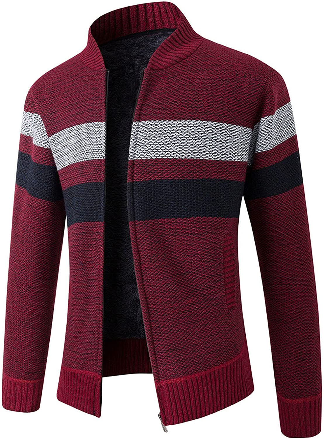 Men's Classic Collared Full Zip Jackets Color Block Stripe Cable Knitted Cardigan Sweater Coat Outerwear