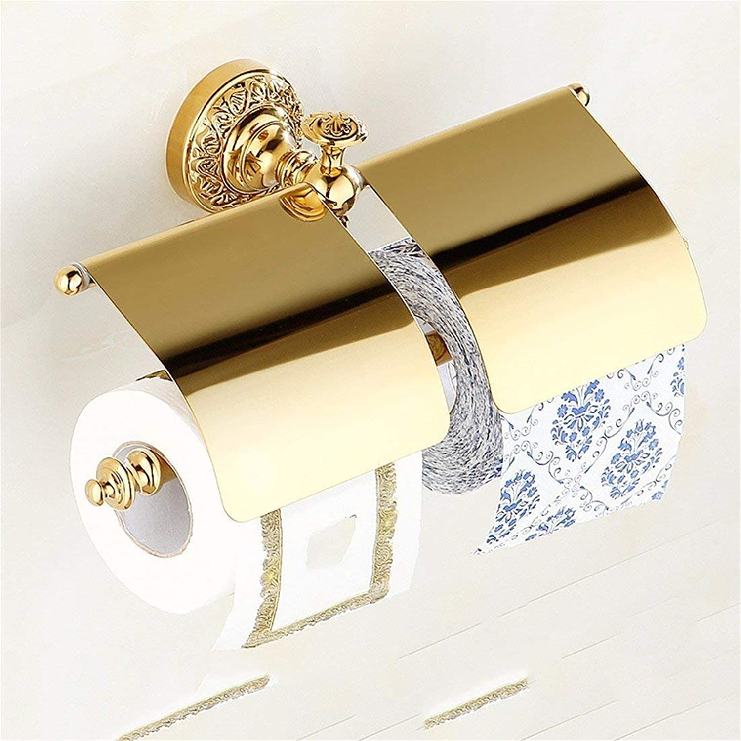 European Copper gold Carved Accessories of Bathroom Should be of a Toilet Brush Toilet Paper,Rack Kit Rack