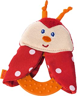 HABA Teether Chomp Champ Ladybug Soft Activity Toy with Crackling Foil & Plastic Teething Ring for Birth and Up