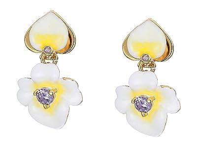 Kate Spade New York Precious Pansy Enamel Drop Earrings (Yellow Multi) Earring