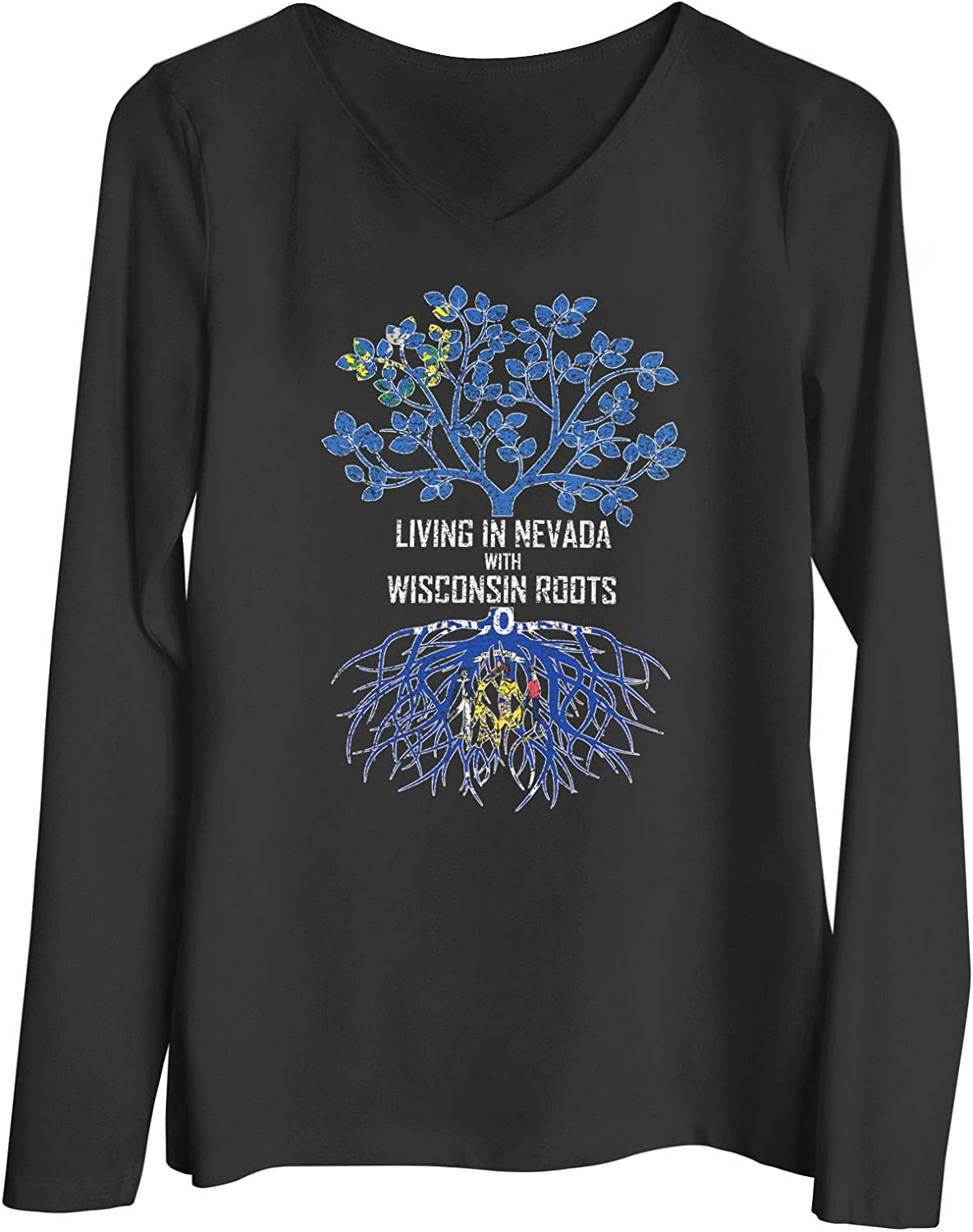 HARD EDGE DESIGN Women's Living in Nevada with Wisconsin Roots T-Shirt