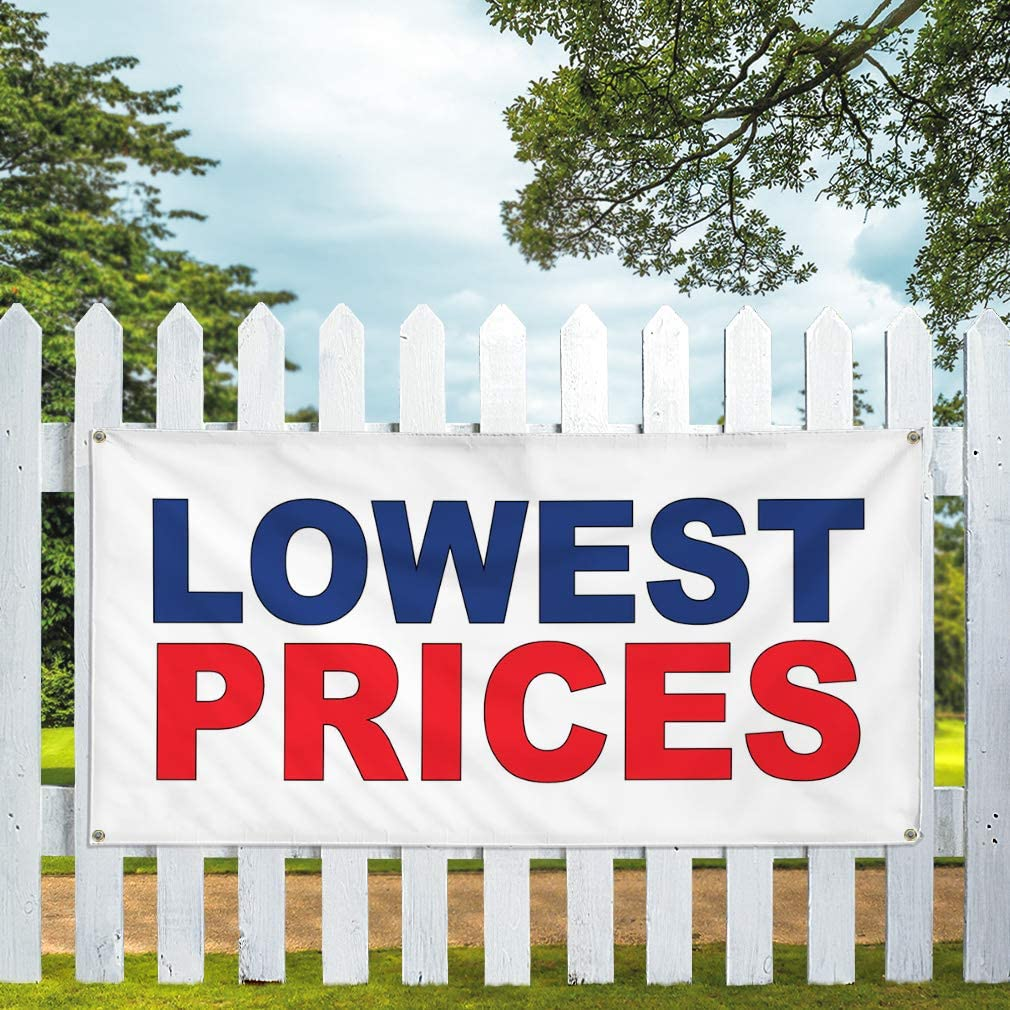 Vinyl Banner Multiple Sizes Lowest Prices Blue Red Business Outdoor Weatherproof Industrial Yard Signs 8 Grommets 48x96Inches