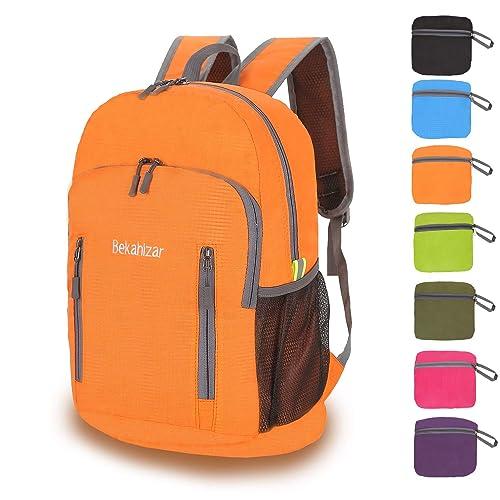 e38b57821a8b Bekahizar 20L Ultra Lightweight Backpack Foldable Hiking Daypack Rucksack  Water Resistant Travel Day Bag for Men