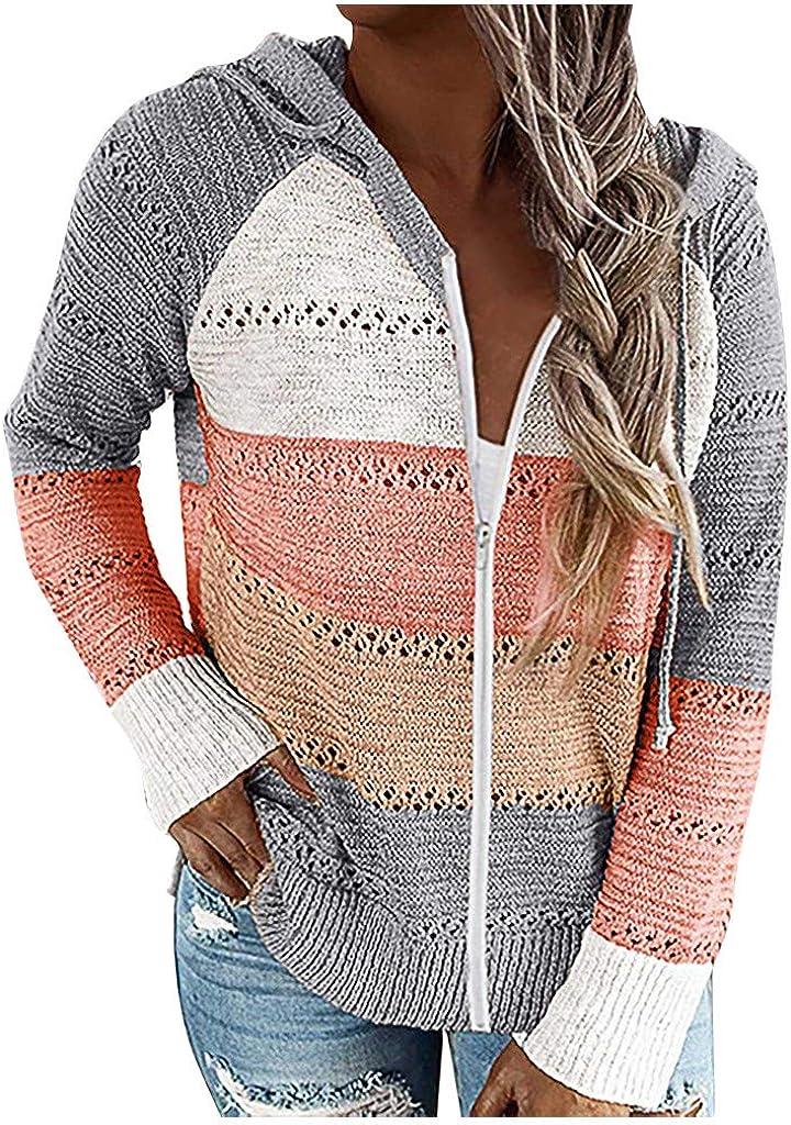 wlczzyn Hoodies for Women, Womens Zip Up Stripe Long Sleeve Hood
