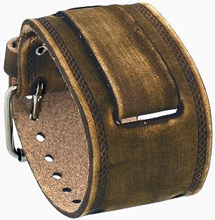 ネメシス #IN-BSS 24mm かん幅スエード風ワイドブラウンレザーカフ腕時計バンド