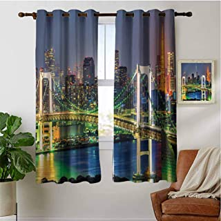 PRUNUSHOME Tokyo Skyline Japanese Kitchen Grommet Curtains, Blackout Small Window Curtains for Bathroom Basement for Cafe, Bath, Laundry, Bedroom(Set of 2 Panels,42 by 90 Inch)