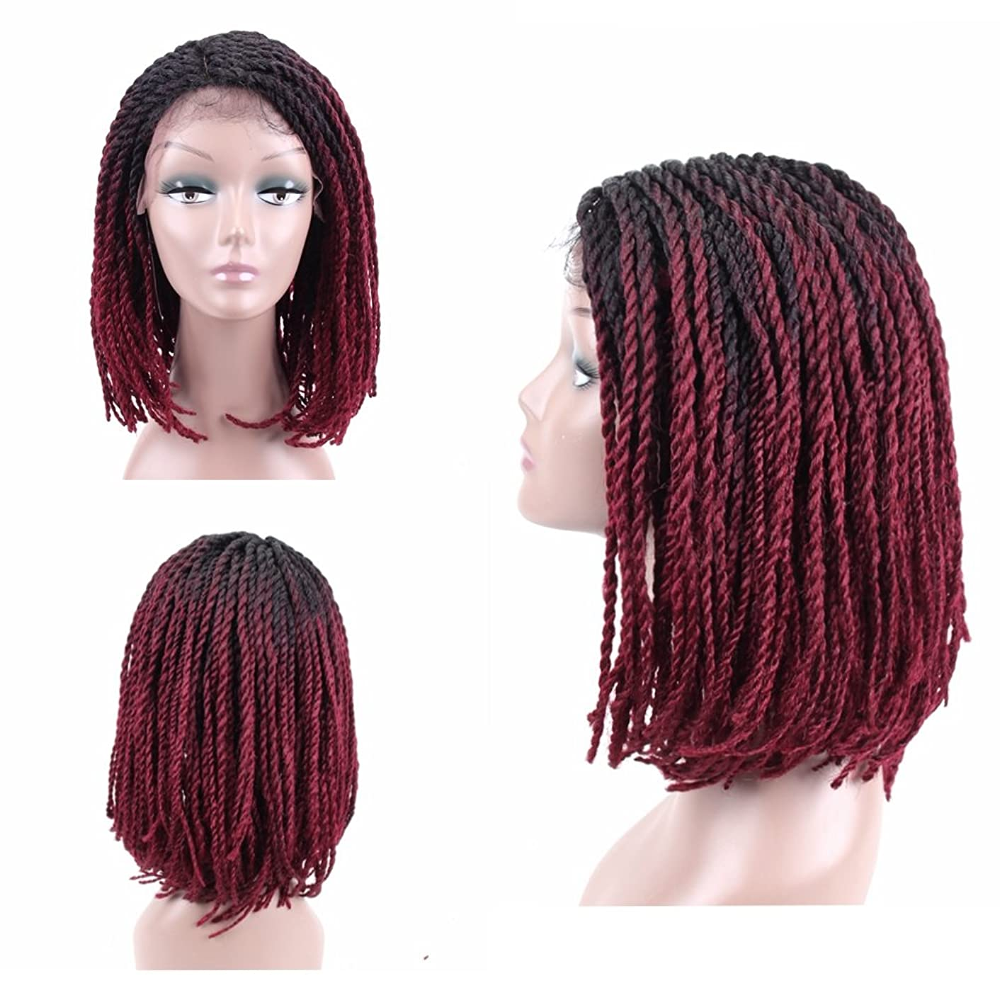 HAIR WAY Lace Front Braided Wigs Bob Style Black to Burgundy for Black Women Glueless Senegalese Twist Braided Lace Bob Wigs with Baby Hair for Daily Wear Half Hand Tied 16inches #1b/Burgundy