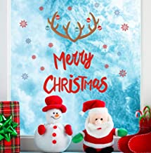 TOARTi Merry Christmas Quote Wall Decals(22 Decals), Snowflake Winter Stickers, Antler Small Bell Wall Art for Xmas Party Supplies Window Clings Nursery Decor