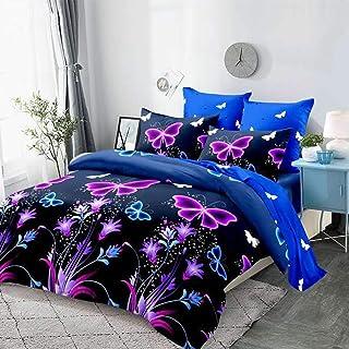 WINLIFE Dream - Juego de funda de edredón con diseño de mariposas, color morado