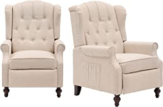 IPKIG Recliner Chair with Heated and Massage, Tufted Comfy Wingback Design Push Back Recliners Armchair Accent Chairs with...
