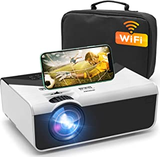"""GRC Mini Projector, Portable WiFi Movie Projector with Synchronize Smart Phone Screen, 1080P and 200"""" Display Supported , ..."""
