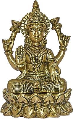 999Store Brass Idols Made Shri Maha Lakshmi Home Décor Mandir Temple Gift Indian Art( Brass_6x4x3.2 Inches_1.520 Kg) Brass054