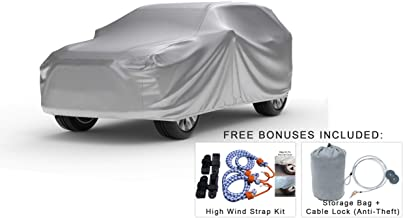 Weatherproof SUV Cover Compatible With 1999 Honda Passport - Outdoor & Indoor - Protect From Rain Water, Snow, Sun - Durable - Fleece Lining - Includes Anti-Theft Cable Lock, Storage Bag & Wind Straps