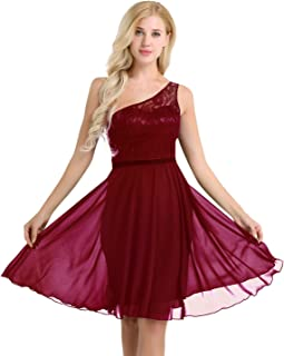 48b98fc406e YiZYiF Women s Lace Chiffon A-Line Prom Formal Wedding Bridesmaid Short  Mini Dress