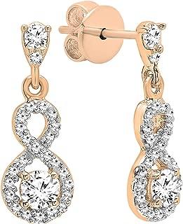 18K 3 MM Each Round Gemstone & Diamond Ladies Infinity Swirl Dangling Drop Earrings, Rose Gold