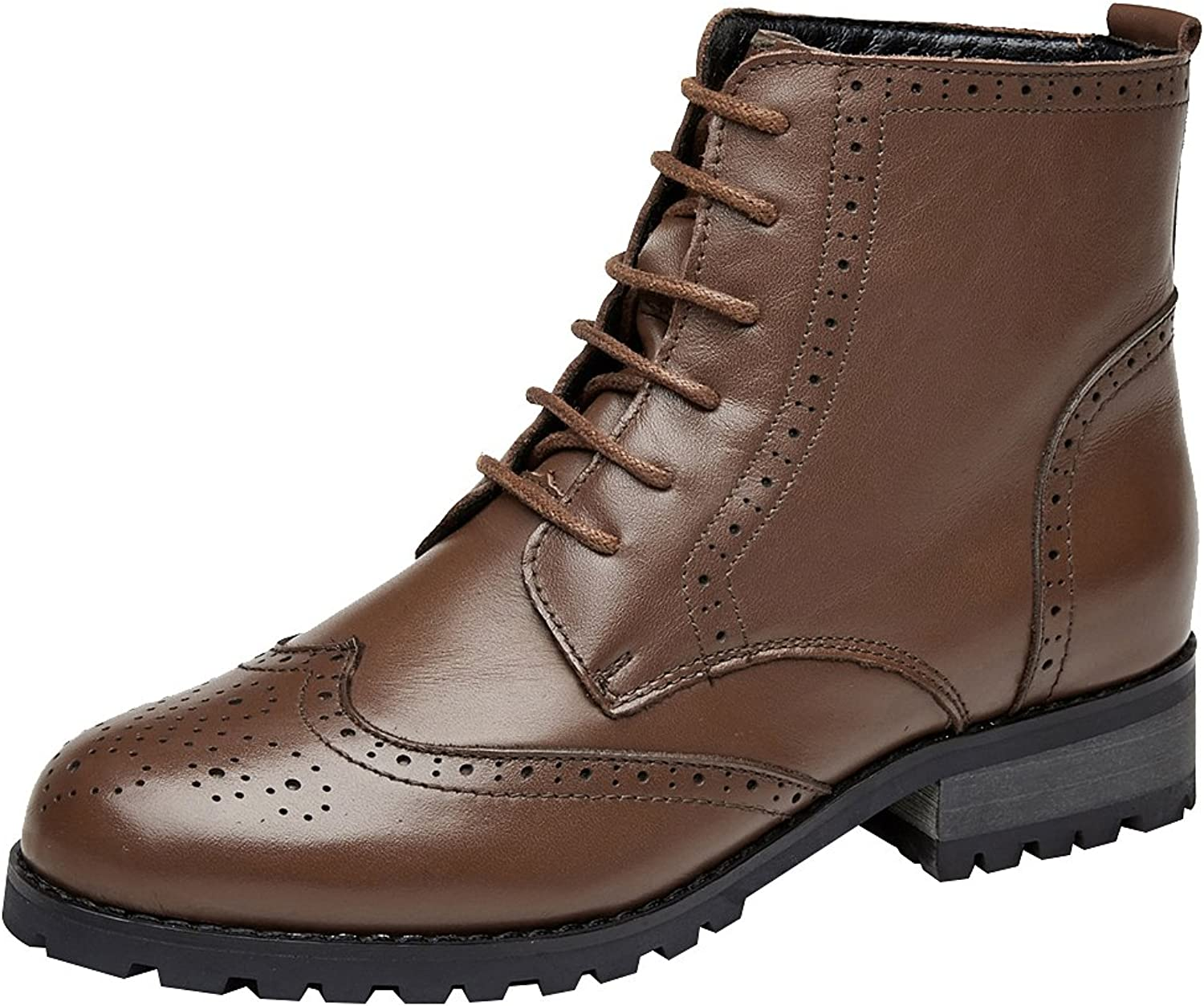Rismart Women's Brogues Ankle High Stylish Leather Combat Boots
