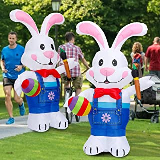 Kexle 2021 Easter Inflatable Bunny Decor 5/6Ft Creative Inflatable Easter Rabbit Outdoor Indoor Holiday Easter Decoration...