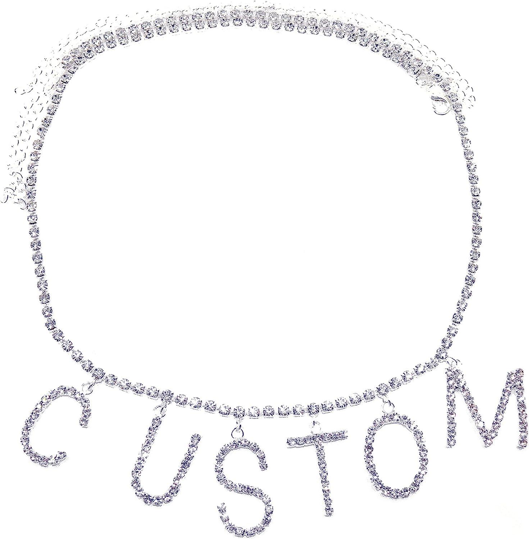 MSCHENGDORIS Brand Custom DIY Rhinestone Letter Waist Chain; Belt for Women Girls Chain; Custom Word Crystal Belly Chain; Body Jewelry Party