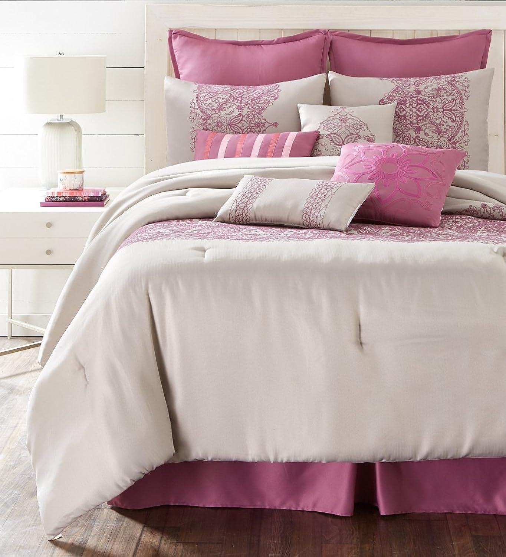 Nanshing MARTINE10-Q Martine Collection Bedroom Comforter Complete 10 Piece Set, Queen, Purple