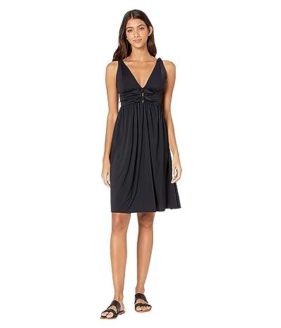 Carmen Marc Valvo Sunlit Seas Over the Shoulder Cover-Up Dress (Black) Women