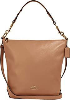 Leather Abby Duffle Crossbody Purse - Taupe - #31507