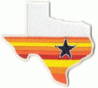 State Of Texas Houston Star Orange Rainbow Sign Embroidered Logo Iron on Patch