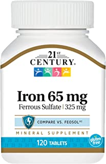 21st Century Iron 65 mg Ferrous Sulfate 325 mg Tablets, 120 Count