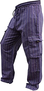 Shopoholic Fashion Mens Light Weight Stripe Hippy Combat Trouser
