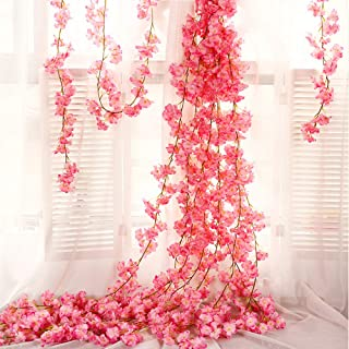 QC Life Artificial Cherry Blossom 4 Pack Garland Hanging Vine Silk Garland Flowers Hanging for Wedding Party Garden Wall Decoration(4 Pack)