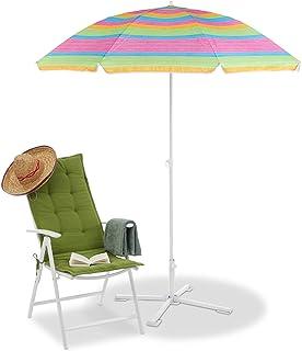 Relaxdays Randigt strandparaply, höjdjusterbart parasoll, trädgårdsparasoll med 50 UV-skydd, HD 210 x 170 cm, färgglatt