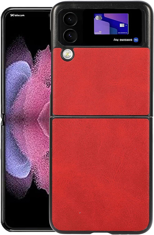 Z Flip 3 5G Case,DAMONDY for Samsung Z Flip 3 Case,Z Flip 3 Case, PU Leather Wallet Case for Men Women,Ultra Slim Protector Case for Samsung Galaxy Z Flip 3 -Red