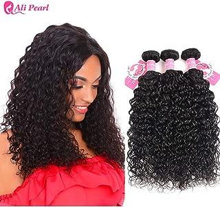 AliPearl Water Wave Hair Weave 3 Bundles Unprocessed Brazilian Virgin Human Hair Natural Wave 3 Bundles Lot Grade 8A Natural Color Remy Hair Extension(12 14 16)
