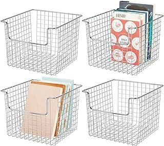 mDesign panier de rangement pour l'armoire ou l'étagère (lot de 4) – casier en métal pour la cuisine, la salle de bain ou ...