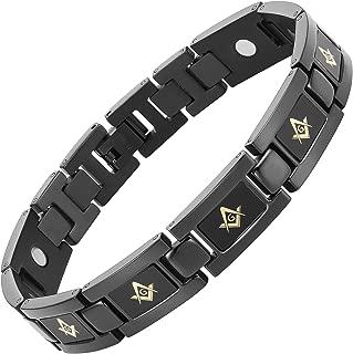 Black Titanium Freemasonry Gold Masonic Magnetic Bracelet with Ajusting Tool and Gift Box