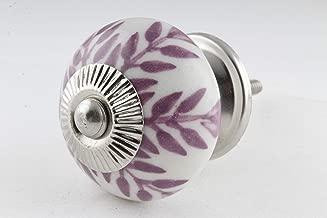 S. K. Art Handmade Ceramic Purple & White Leaf Drawer Cabinet Knobs Pulls Door Dresser Handles - Pack of 4