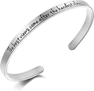 Awegift Motivational Quotes Bracelet Mountain Outdoors Jewelry Gift Women The Best View Comes After The Hardest Climb