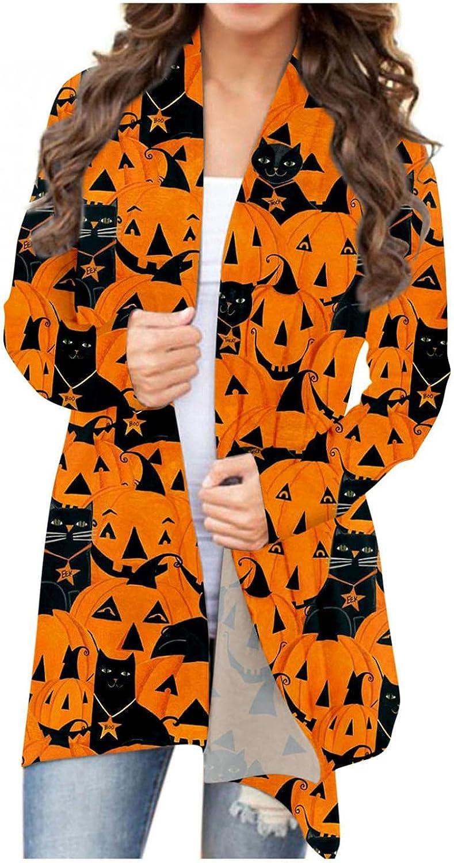 Halloween Cardigan for Women Fashion Open Front Cardigan Long Sleeve Pumpkin Print Lightweight Loose Blouse Sweatshirts