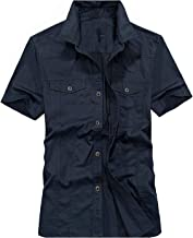 Casual Brand Black Blue Short Sleeve Man 100% Pure Cotton AFS Jeep Khaki Shirts
