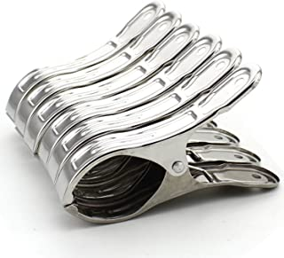 Z Zicome Set of 6 Stainless Steel Beach Bath Towel Clips for Beach Chair or Pool Loungers on Your Cruise - Keep Your Towels from Blowing Away